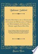 libro Reseña Histórica De La Escolanía ó Colegio De Música De La Vírgen De Montserrát, En Cataluña, Desde 1456 Hasta Hoy Dia