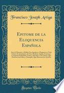libro Epitome De La Eloquencia Española